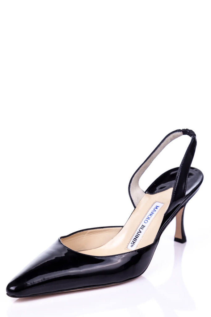 2cf81496c96bc ... Manolo Blahnik Black Patent Carolyne Sling Back Pumps New Size 9 | EU  39 - OWN ...