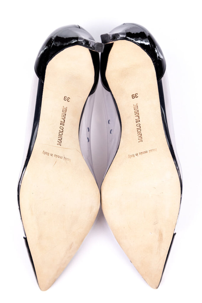 Manolo Blahnik Black Patent and PVC Pointed Toe Pumps Size 9 | EU 39 - OWN THE COUTURE