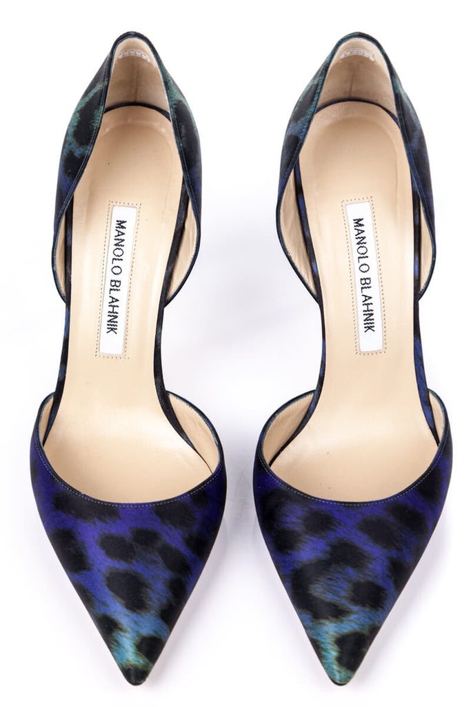 Manolo Blahnik Satin Leopard Print Pumps Size 8.5 | EU 38.5 - OWN THE COUTURE
