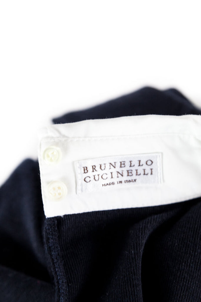 Brunello Cucinelli Navy and White Collared Sweater Size M - OWN THE COUTURE