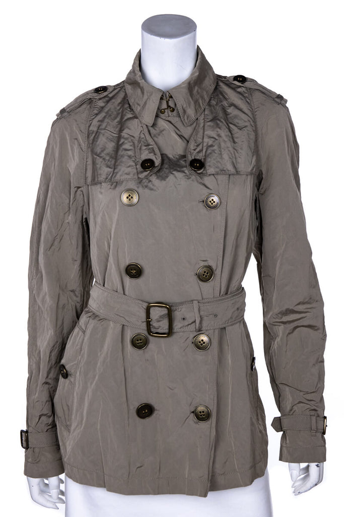Burberry Khaki Crinkled Double Breasted Short Trench Coat Size XL | UK 16 - OWN THE COUTURE