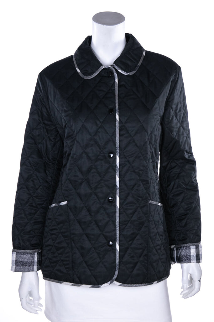 Burberry London Black Quilted Metallic Trim Jacket Size M - OWN THE COUTURE