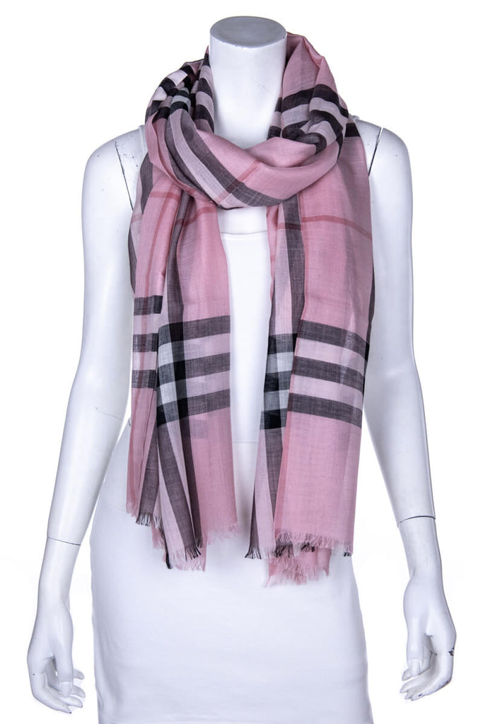 Burberry Pink Check Wool & Silk Scarf - OWN THE COUTURE