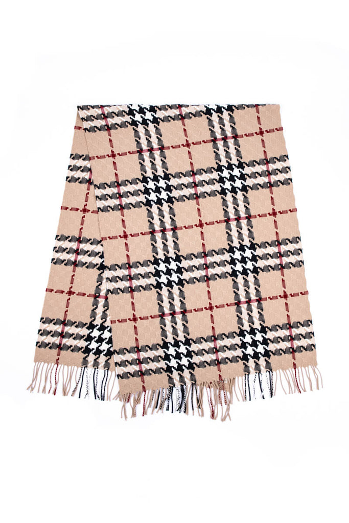 ba7113de1 ... Burberry Tan Merino Wool and Cashmere Check Fringe Scarf - OWN THE  COUTURE ...