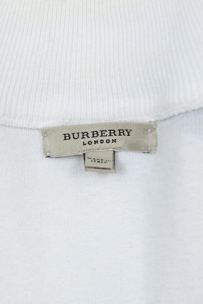 Burberry London White Cotton Knit Zip Cardigan Size XL - OWN THE COUTURE