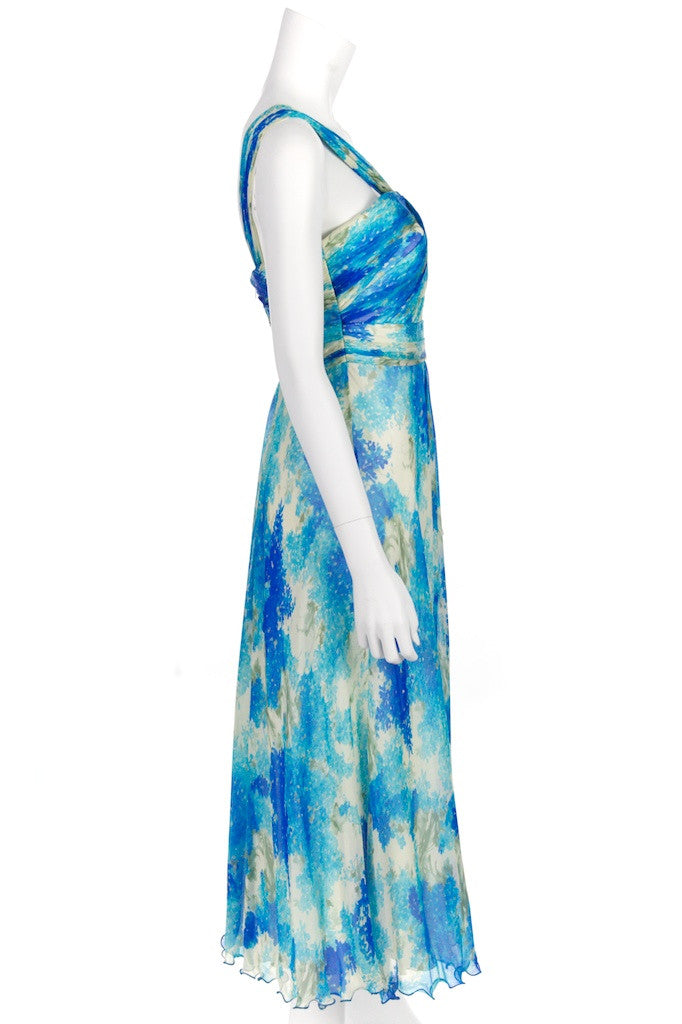 Carmen Marc Valvo one shoulder chiffon dress Size M | US 8 - OWN THE COUTURE  - 2