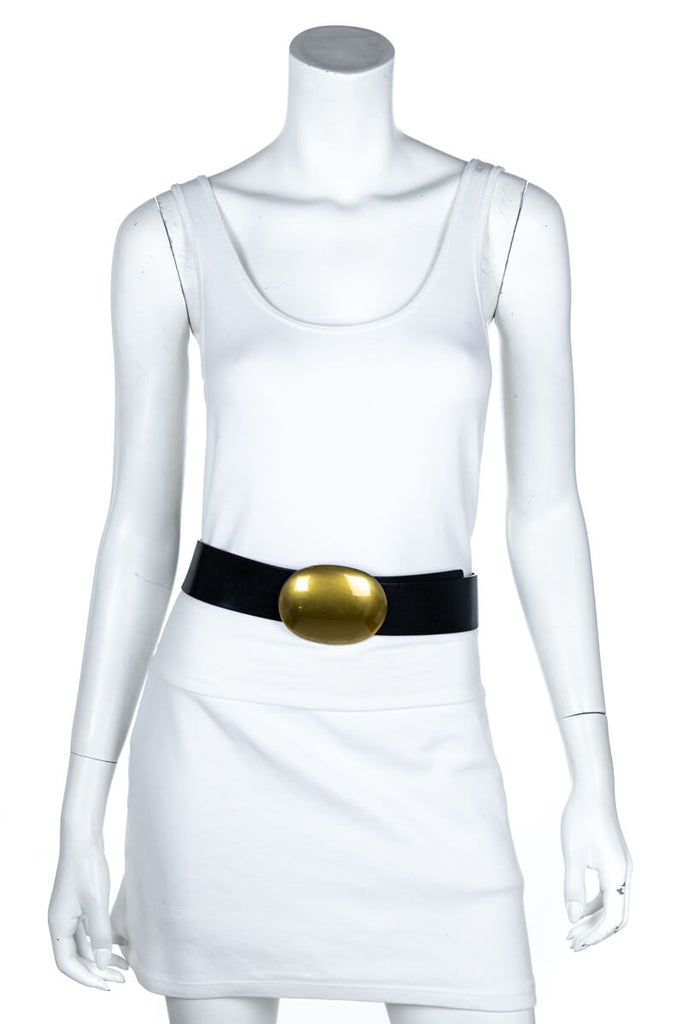 Celine Black Leather Gold Oval Belt Size M - OWN THE COUTURE