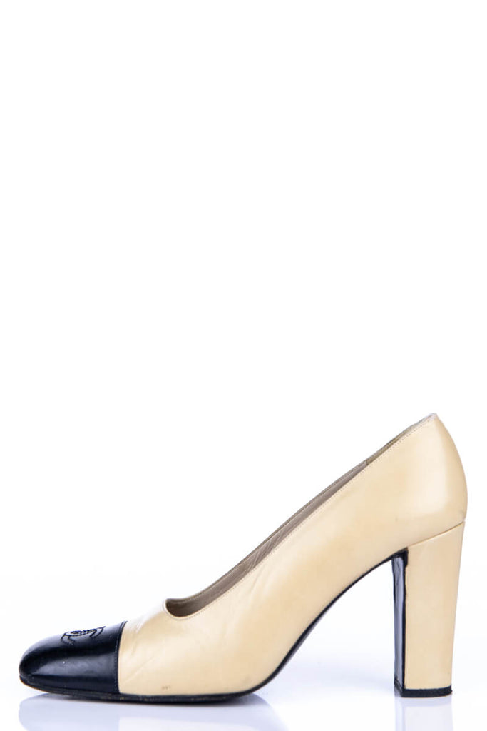 Chanel Beige and Black Cap Toe Square Toe Pumps Size 8 | IT 38 - OWN THE COUTURE