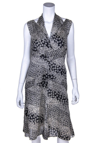 d44bc38febc Chanel Black and Ivory Cotton Floral Print Spring 2003 Dress Size XL