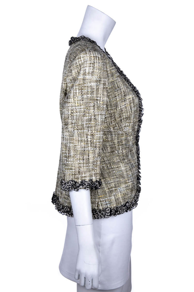 Chanel Black and Ivory Tweed Spring 2003 Jacket Size XL | FR 44 - OWN THE COUTURE