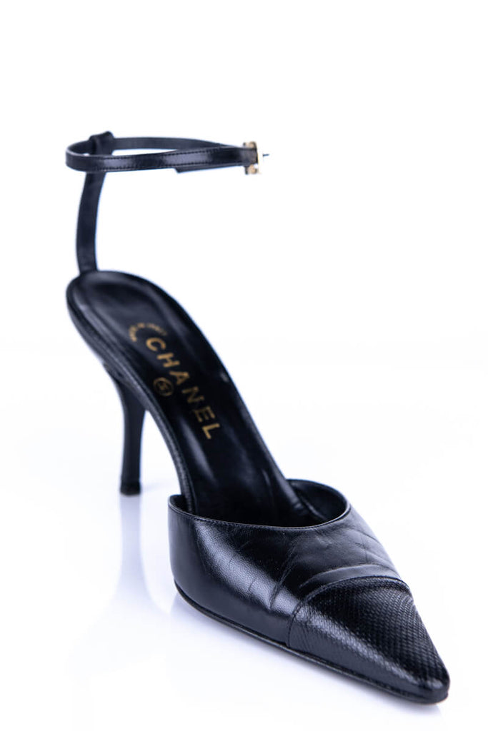 Chanel Black Cap Toe Ankle Strap Pumps Size 9 C | EU 39 C - OWN THE COUTURE