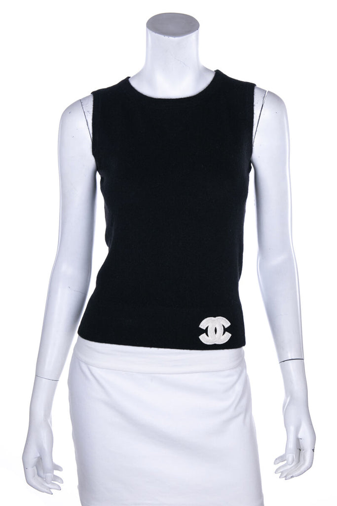 Chanel Black Cashmere Sleeveless Logo Tank Top Size XS | FR 36 - OWN THE COUTURE