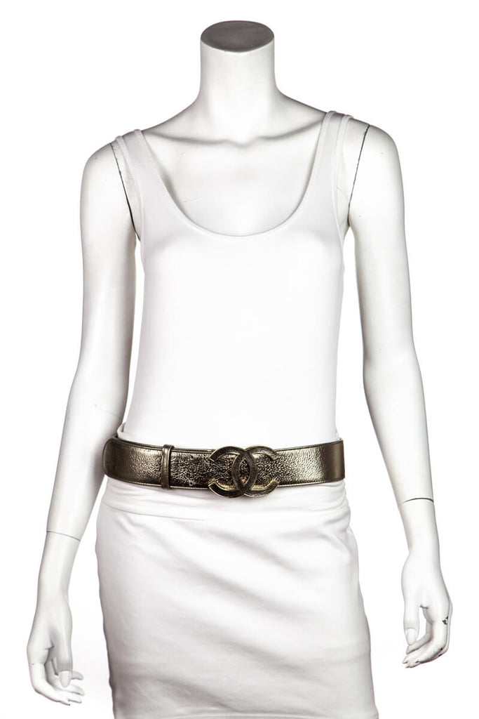 Chanel Gold Leather Logo Wide Belt From Spring 2008 Collection Size XXL - OWN THE COUTURE