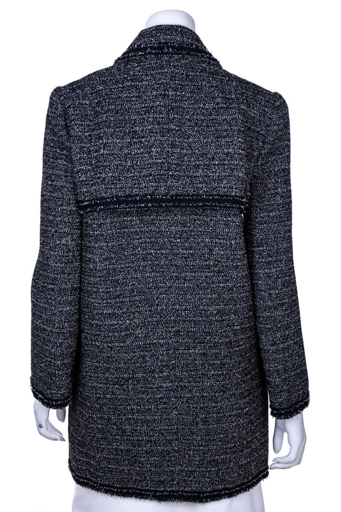 Chanel Navy and Black Tweed Fall 2012 Coat New W/ Tags Size M | FR 40 - OWN THE COUTURE