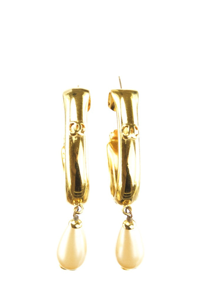Chanel gold and pearl drop earrings - OWN THE COUTURE  - 1