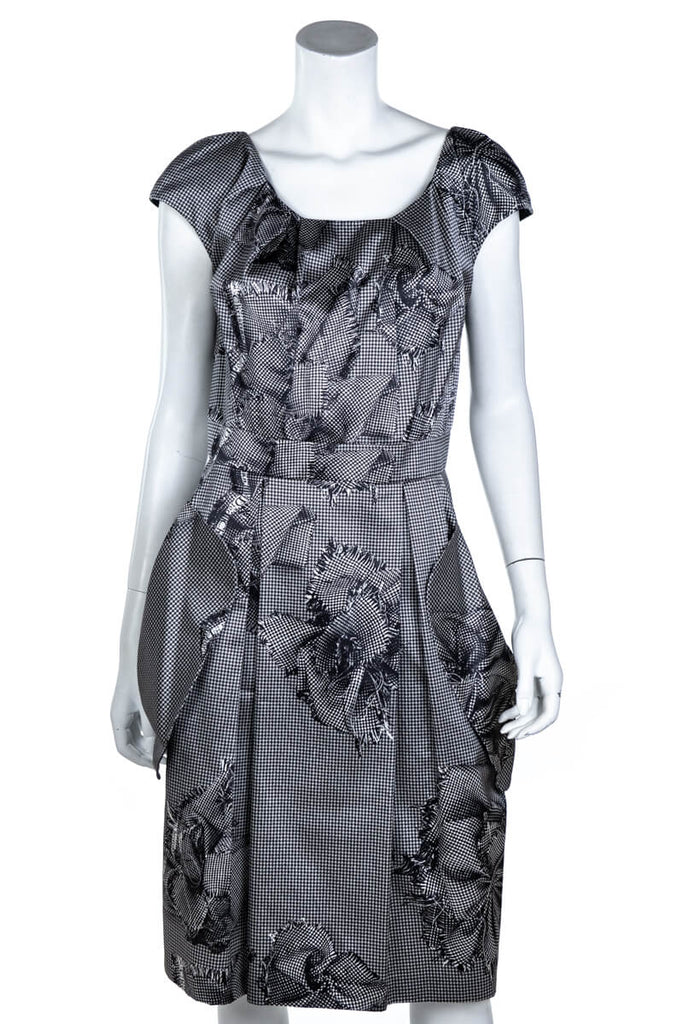 1ca2b3012a0 ... Christian Dior Black and White Silk Houndstooth Print Dress Size L | FR  42 - OWN ...