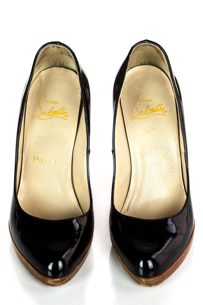 Christian Louboutin Black Leather Platform Pump Size 37.5 - OWN THE COUTURE