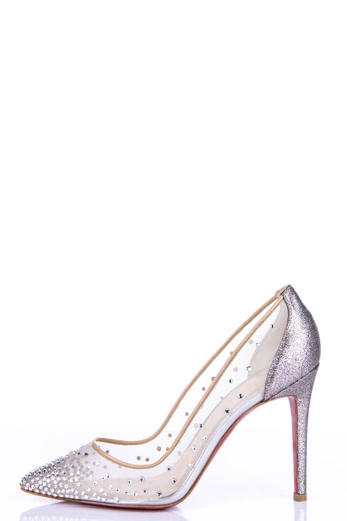watch 4f38b beb88 Christian Louboutin Beige Follie Strass Pointed Toe Pumps Size 9 | EU 39