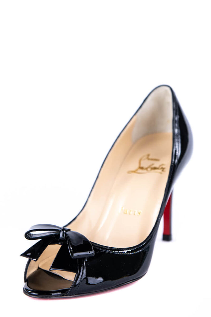 cheap for discount bc5e2 5ca72 Christian Louboutin Black Patent Peep Toe Pumps New Size 4.5 | EU 34.5