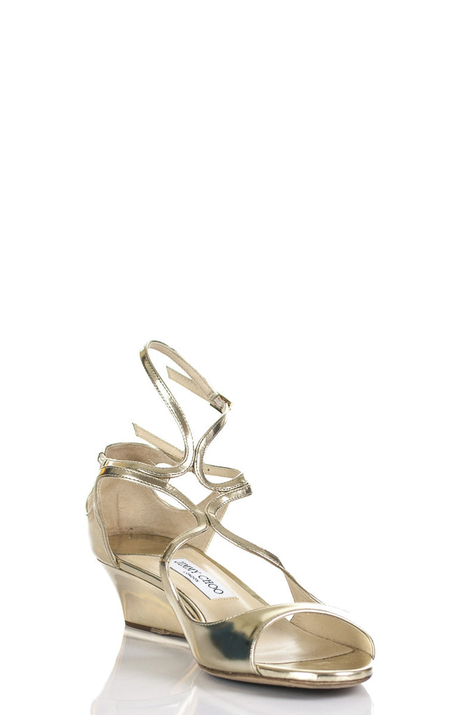 Jimmy Choo metallic Inka demi-wedge sandals Size 11.5 - OWN THE COUTURE  - 2