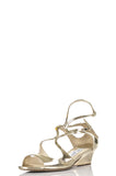 Jimmy Choo metallic Inka demi-wedge sandals Size 11.5 - OWN THE COUTURE