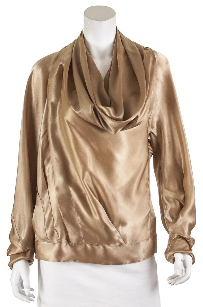 Donna Karan cupro draped cowl neck blouse Size XL | US 12 - OWN THE COUTURE