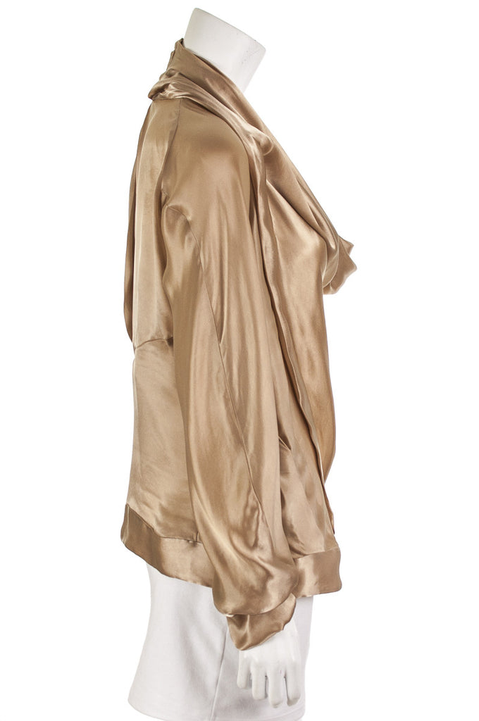 Donna Karan cupro draped cowl neck blouse Size XL | US 12 - OWN THE COUTURE  - 2