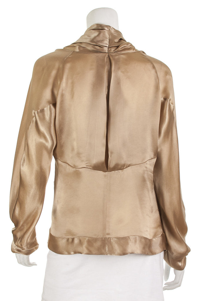 Donna Karan cupro draped cowl neck blouse Size XL | US 12 - OWN THE COUTURE  - 3
