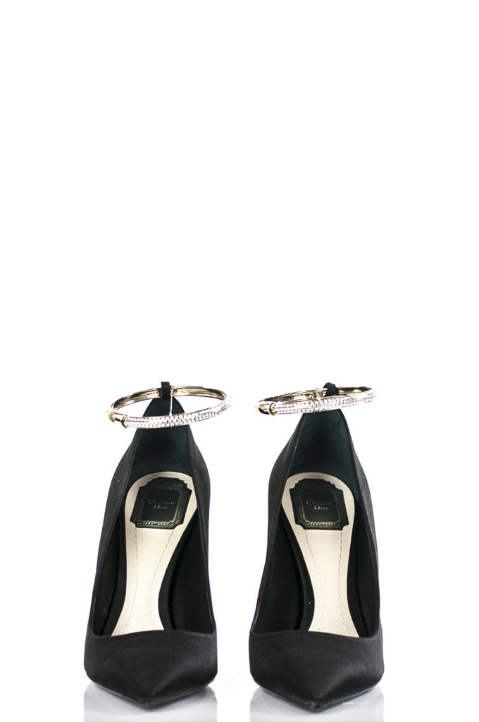 Dior Tourbillon satin and pavé embellished pointed toe pumps New Size 11 - OWN THE COUTURE