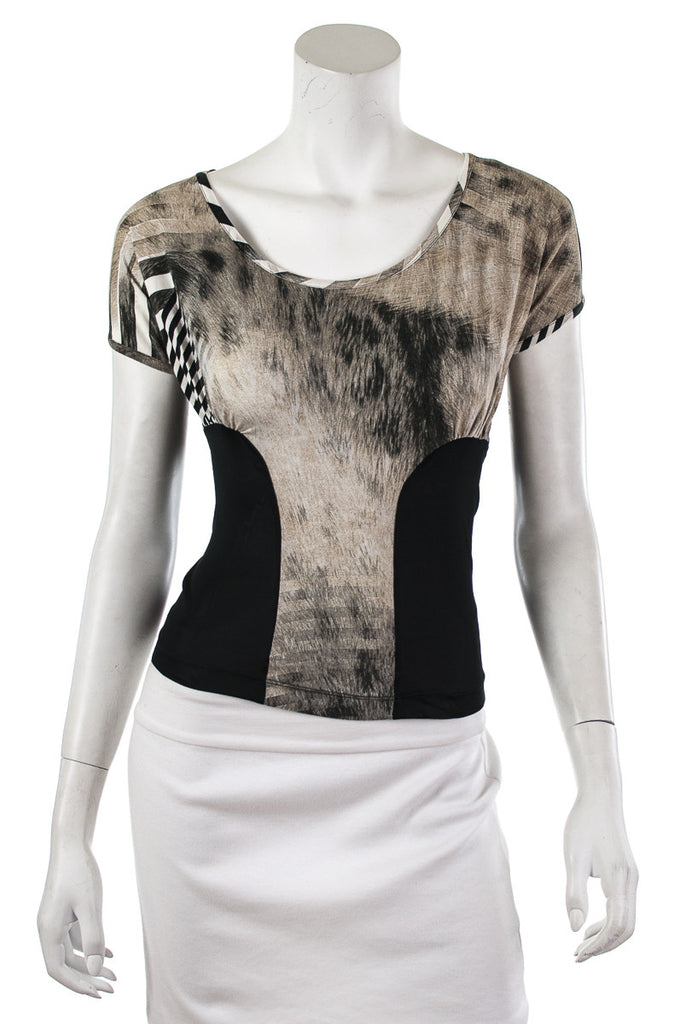 Just Cavalli stretch jersey cap sleeve top Size S | IT 42 - OWN THE COUTURE  - 1
