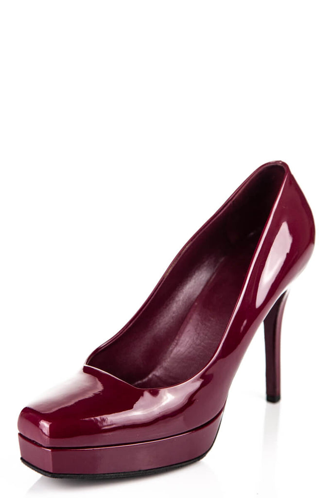 Gucci Burgundy Patent Leather Platform Square Toe Pumps Size 9 | IT 39 - OWN THE COUTURE