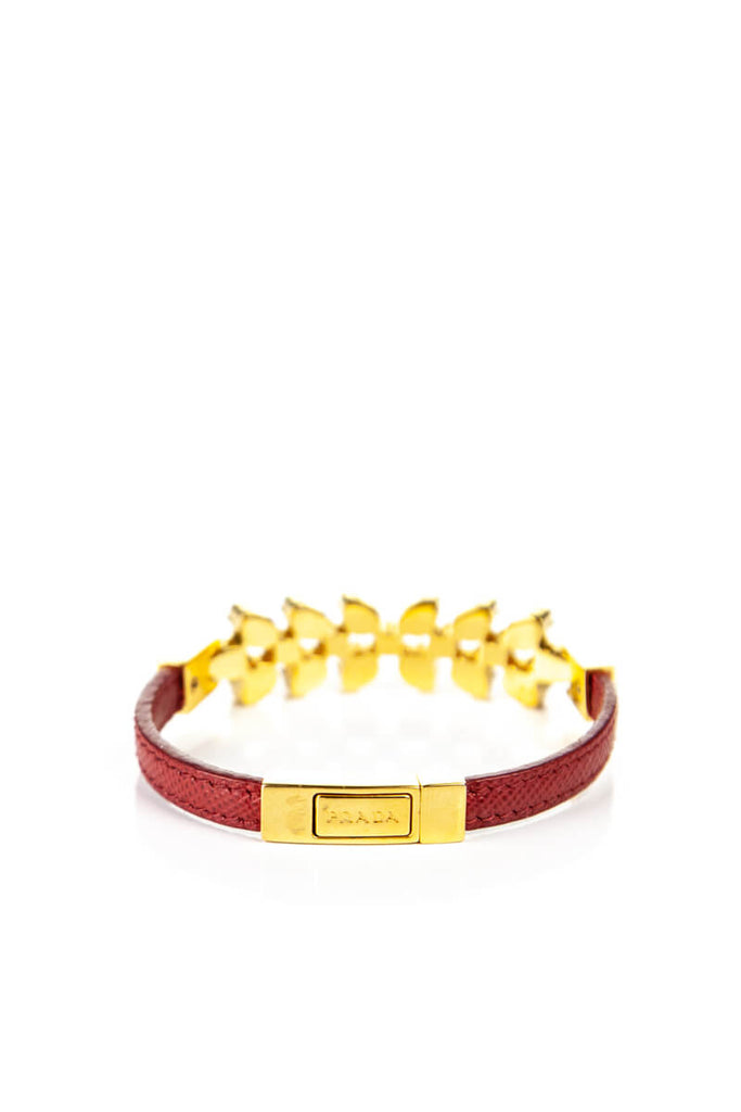 Prada Red Leather Swarovski Crystal Embellished Bracelet - OWN THE COUTURE