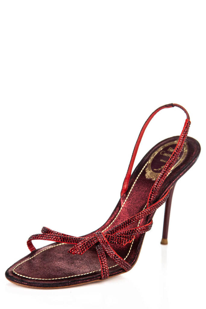 René Caovilla Red Crystal Embellished Sandals Size 9.5 | IT 39.5 - OWN THE COUTURE