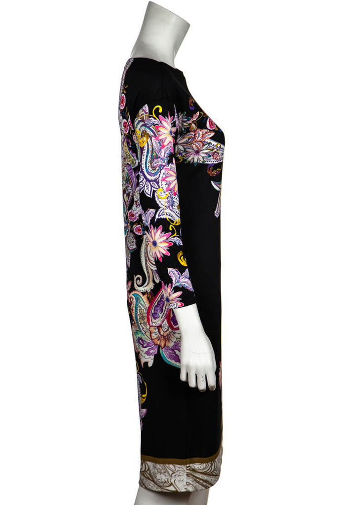 Etro Black and Multicolor Paisley Jersey Dress Size S | IT 42 - OWN THE COUTURE
