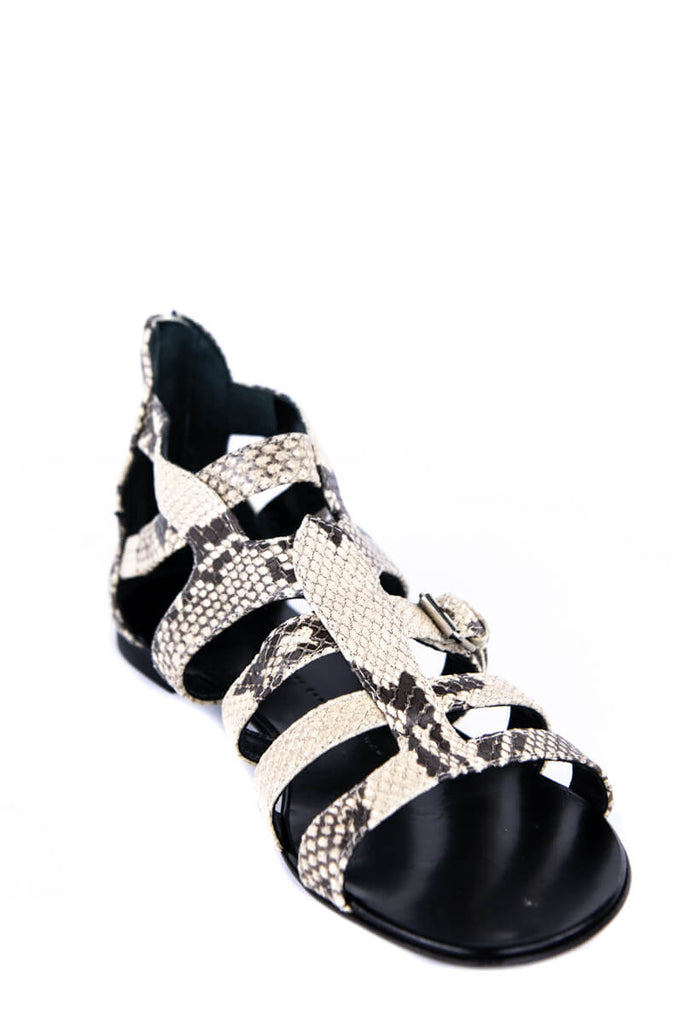 Giuseppe Zanotti Snakeskin-Embossed Leather Gladiator Sandals New Size 9 | IT 39 - OWN THE COUTURE