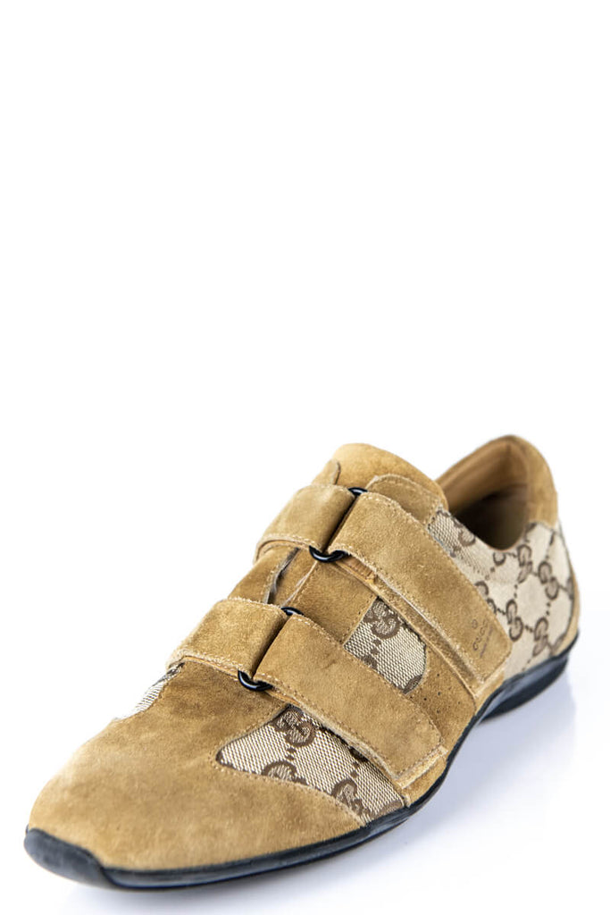 a2aea76c0 ... Gucci Beige Monogram Canvas and Suede Sneakers Size 9 | EU 39 - OWN THE  COUTURE ...