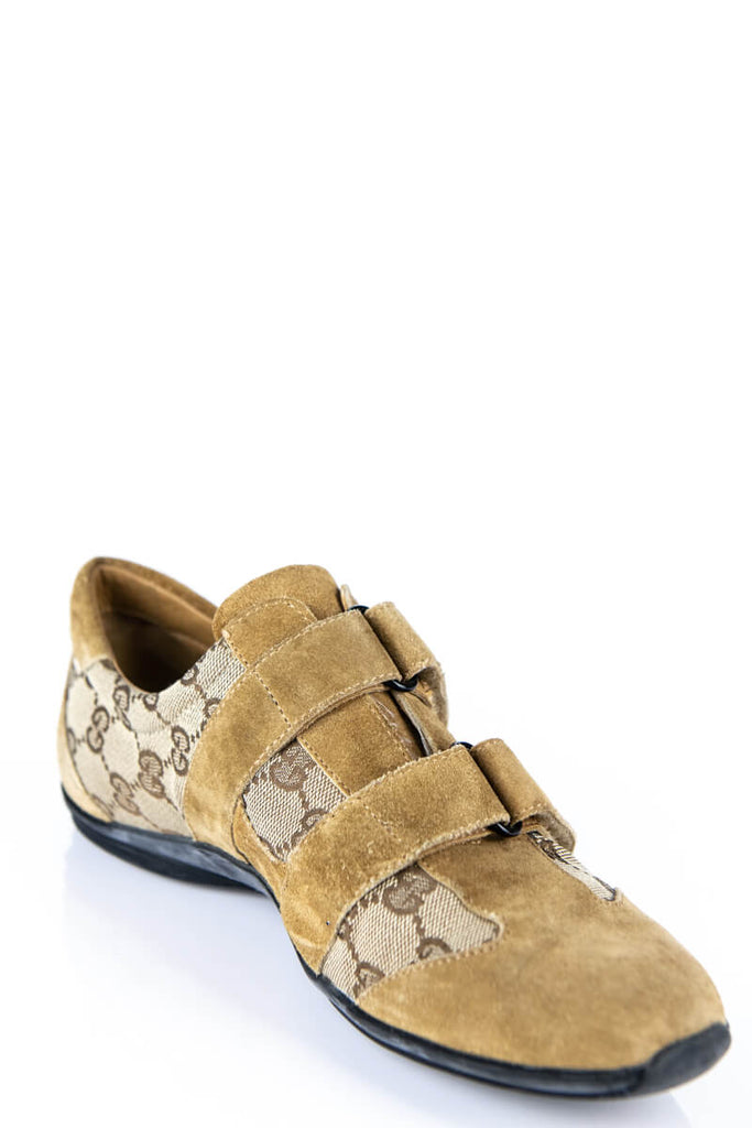 Gucci Beige Monogram Canvas and Suede Sneakers Size 9 | EU 39 - OWN THE COUTURE