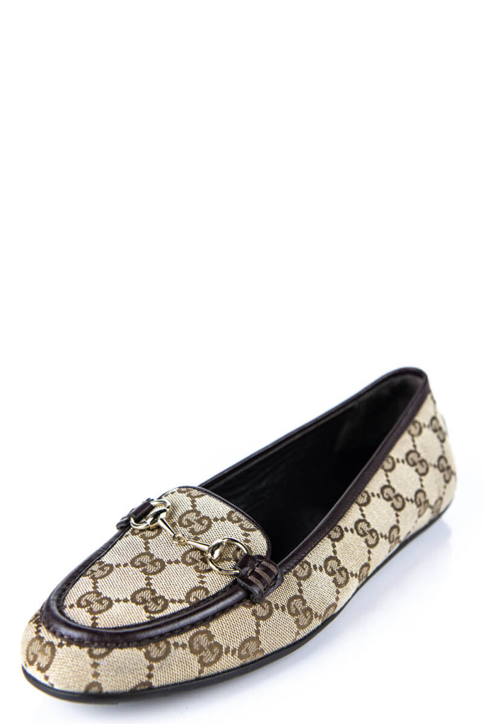 f586ebc088f Gucci Beige Monogram Canvas Loafers Size 8.5