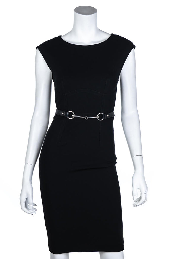 71e65e2f Gucci Black Horsebit Belted Sleeveless Dress | OWN THE COUTURE ...