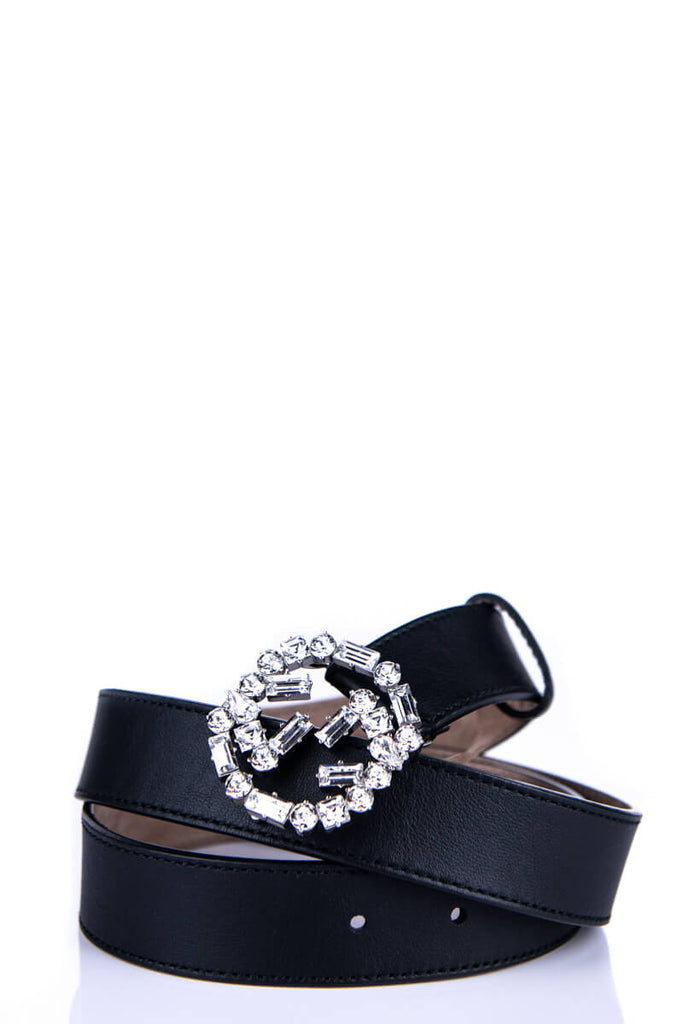 Gucci Black Leather Crystal GG Belt - M - OWN THE COUTURE