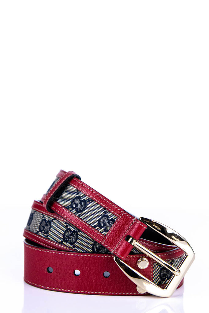 Gucci Blue and Red Monogram GG Buckle Belt - M - OWN THE COUTURE