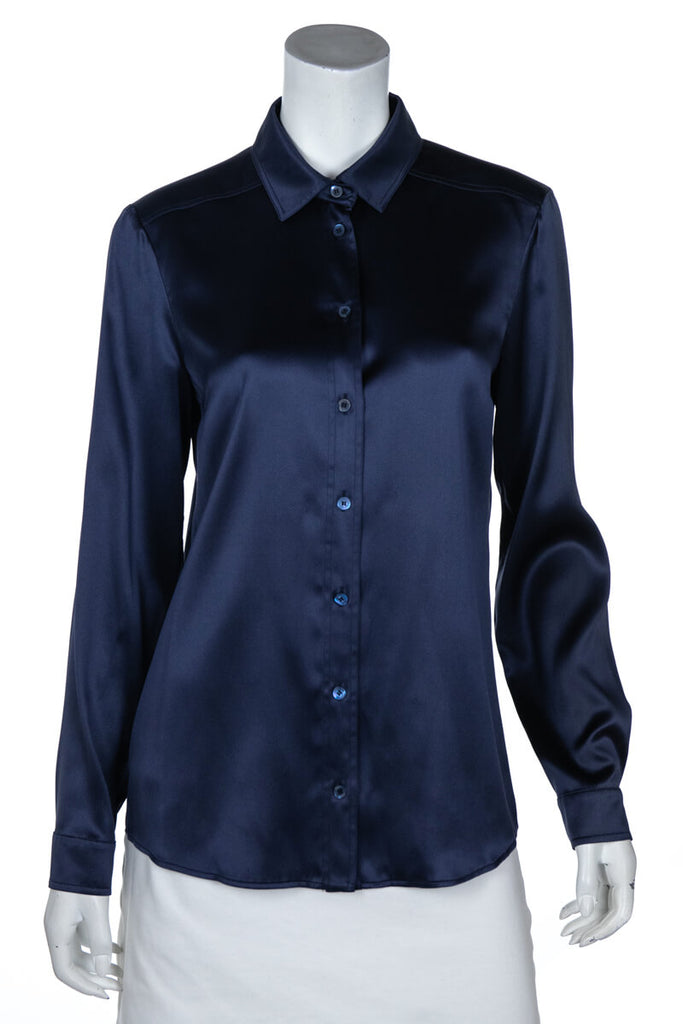 81616803 Gucci Navy Silk Button Down Shirt | OWN THE COUTURE | Canada's ...