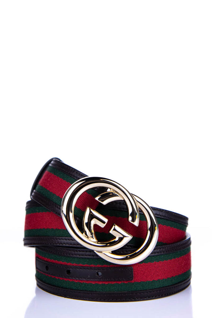 8fa72d01e Gucci Red and Green Web Logo Belt - L | OWN THE COUTURE | Canada's ...