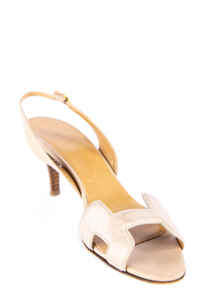 Hermes Beige Leather Night 70 Slingback Sandals Size 8 | EU 38 - OWN THE COUTURE