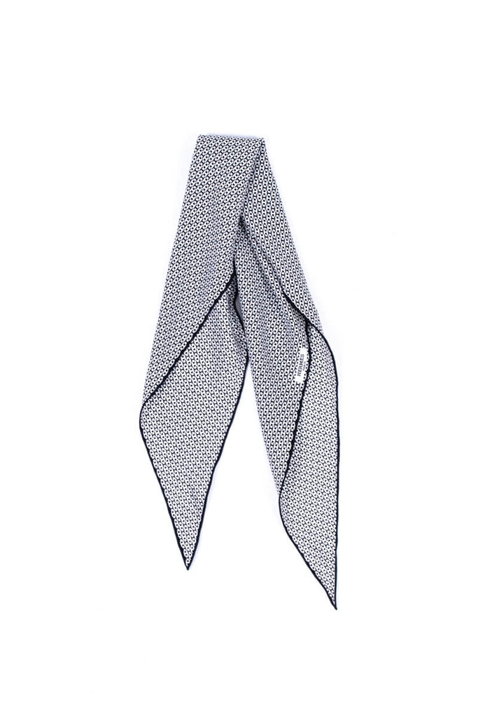 Hermès Black and White Silk H Losange Neck Scarf - OWN THE COUTURE