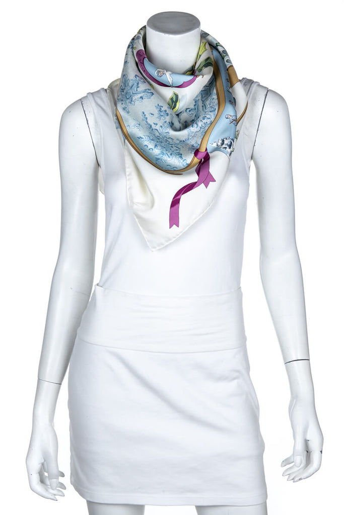"Hermès Ivory and Light Blue Silk ""Neiges d'Antan"" Scarf - OWN THE COUTURE"