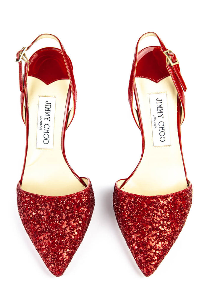 Jimmy Choo Red Glitter Sling-Backs Size 6 | EU 36 - OWN THE COUTURE