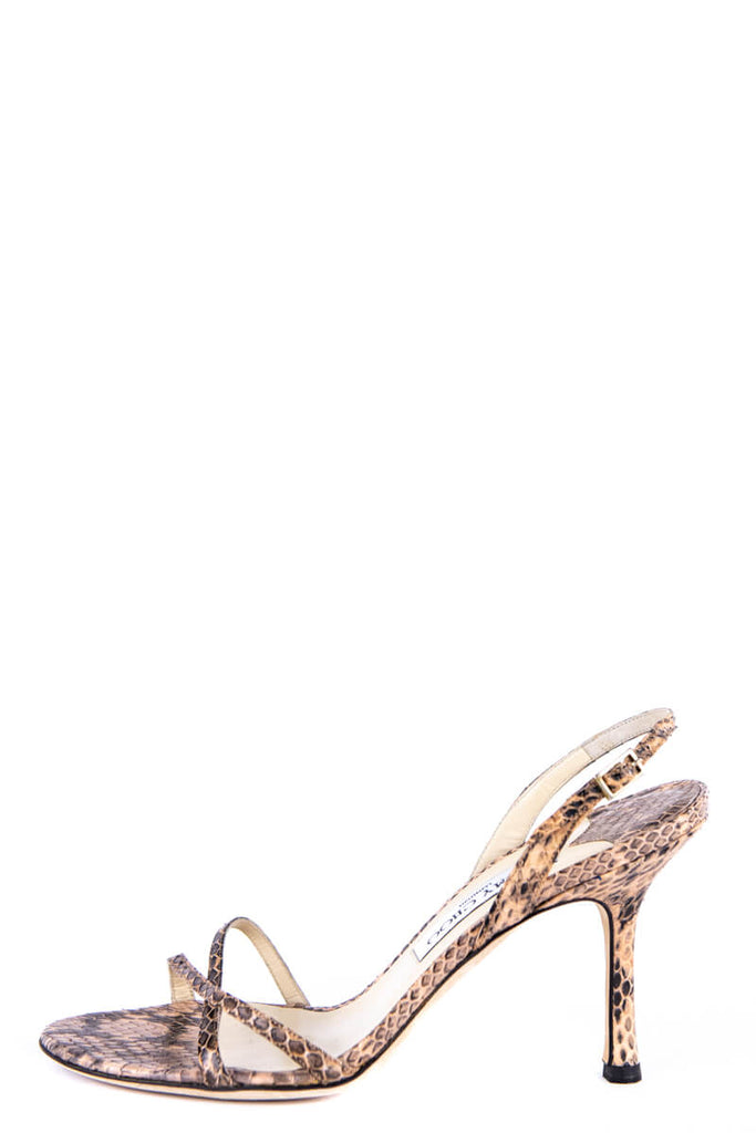 Jimmy Choo Beige Snakeskin Embossed Leather Slingback Sandals Size 9 | EU 39 - OWN THE COUTURE