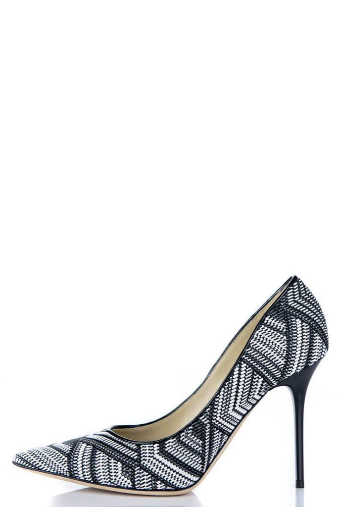 Jimmy Choo Black and White Weaved Pumps New Size 8.5 | EU 38.5 - OWN THE COUTURE
