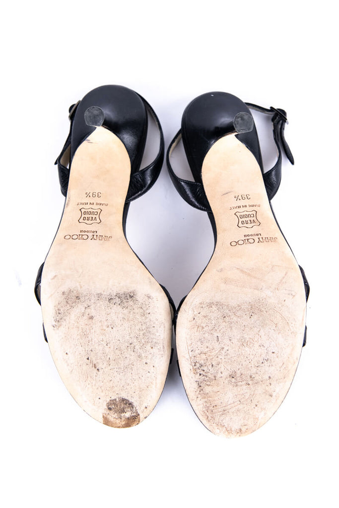 Jimmy Choo Black Leather Slingback Sandals Size 9 | EU 39 - OWN THE COUTURE
